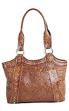 American West® Ladies Over the Rainbow Caramel Brown Leather Hand Tooled Handbag