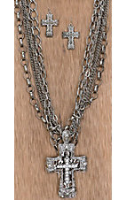 Cattilac Style® Silver 3D Crystal Cross w/ Multiple Chains Jewelry Set