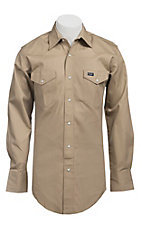 Wrangler® Khaki Twill Long Sleeve Big & Tall Workshirt