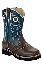 Roper® Infant Chocolate w/ Navy Top Square Toe Western Boots