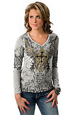 In Vein® Women's Grey w/ Gold Cross & Chains Design Long Sleeve V-Neck Tee