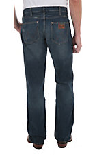 Wrangler Retro Men?s Premium Patch Banjo Blue Wash Slim Fit Jeans- 38