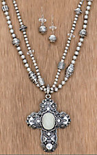 Cattlic Style® Silver Cross w/ Cream Stone Jewelry Set