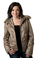Montanaco® Women's Galtiberg Taupe Distressed Faux Leather w/ Faux Fur Collar Jacket