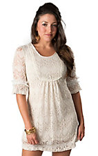 Young Essence® Women's Cream Lace 3/4 Sleeve Dress