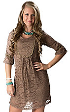 Young Essence® Women's Brown 3/4 Sleeve Lace Dress