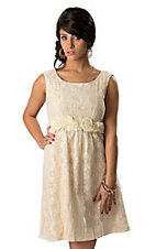 Young Essence® Women's Cream Floral Lace with Rosettes Sleeveless Dress