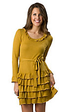 Young Essence® Women's Mustard Yellow Long Sleeve Ruffle Dress