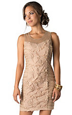Young Essence® Women's Tan Floral Lace and Roses Sleeveless Dress