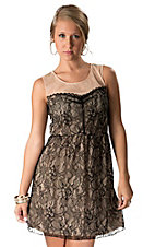 Young Essence® Women's Beige with Black Lace Overlay Sleeveless Dress
