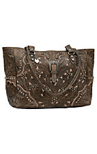 American West® Women's Tumbleweed Collection Antique Brown Hand Tooled Leather Handbag