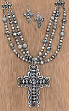 Cattilac Style® Hematite Beaded Silver Cross Jewelry Set