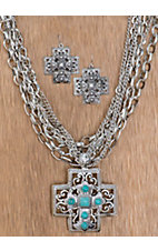 Cattilac Style® Silver Square Cross w/ Turquoise Accents on Multi Silver Chains Jewelry Set