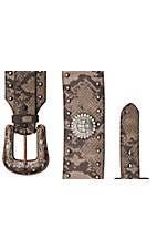 Roper® Ladies Brown Snake Print w/ Cross Conchos & Studs Wide Waist Belt