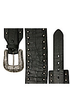 Roper® Ladies Black Gator Print w/ Studs Wide Waist Belt