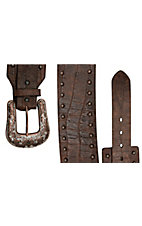 Roper® Ladies Cognac Brown Gator Print w/ Studs Wide Waist Belt