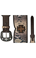 Roper® Ladies Brown Snake Print w/ Cowhide Crosses & Studs Wide Waist Belt