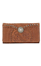 American West® Ladies Retro Romanc Antique Brown Leather with Star Concho Flap Wallet