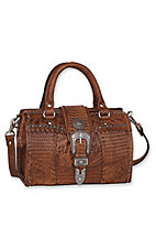American West® Ladies Retro Romance Brown Tooled Leather Star Concho Coach Handbag