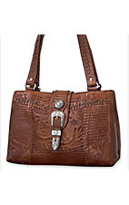 American West® Ladies Retro Romance Brown Tooled Leather Star Concho Shopper Handbag