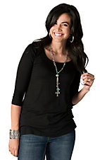 Moa Moa Women's Solid Black Scoop Neck 3/4 Sleeve Top