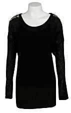 Moa Moa® Women's Black w/ Silver & Gold Spiked Shoulders Long Sleeve Fashion Top- Plus Sizes
