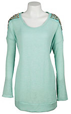 Moa Moa® Women's Mint w/ Silver & Gold Spiked Shoulders Long Sleeve Fashion Top- Plus Sizes