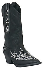 Roper® Girl's Macy Distressed Black w/ Horseshoe & Crystals Western Fashion Boots