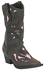 Roper® Girl's Aubrey Rich Chocolate Brown with Pink Inlay Western Fashion Boots