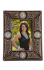 M&F® Western Moments™ Jeweled Brown Croc Print w/ Rhinestone Concho Picture Frame 4x6