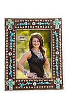M&F® Western Moments™ Jeweled Brown Croc Print w/ Turquoise Cross Picture Frame