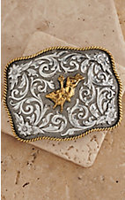 AndWest® Antiqued Silver Scrolling with Gold Bull Rider Belt Buckle