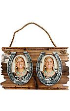 M&F Western Products® Double Picture Horseshoe Brown Hanging Frame 3x5