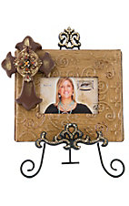 M&F Western Products® Brown Picture Frame with Cross and Crystal Easel 2 Piece Set