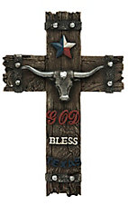 M&F Brown Resin God Bless Texas Wall Cross