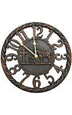 M&F Western Products® Cowboy Prayer Rustic Wall Clock