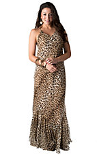 Karlie Women's Leopard Chiffon Sleeveless Maxi Dress