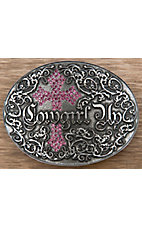 Montana Silversmiths® Silver Cowgirl Up with Pink Crystal Cross Oval Buckle