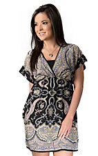 Angie® Women's Black with Pink and Yellow Paisley V-Neck Short Sleeve Tunic Dress