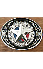 Montana Silversmiths® Silver with Red, White and Blue Star Oval Belt Buckle