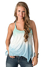 Ocean Drive Women's Turquoise and Blue Ombre Leather Braided Strap Fashion Tank Top