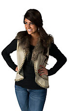 Montanaco Women's Tan Vest with Feather-Fur Collar