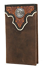 Ariat® Distressed Brown with Tooled Overlay, Dark Brown Trim and Circle Concho Leather Checkbook / Rodeo Wallet