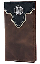 Ariat Brown with Black Tooled Overlay and Circle Concho Leather Rodeo Wallet / Checkbook Cover