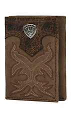 Ariat® Distressed Brown with Boot Stitching Leather Tri-Fold Wallet