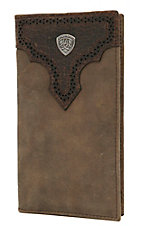 Ariat® Distressed Brown with Dark Brown Perforated Overlay with Shield Leather Checkbook / Rodeo Wallet