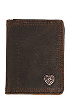 Ariat® Performance Work Dark Brown with Small Shield Leather Bi-Fold Flipcase Wallet