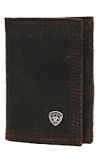 Ariat® Performance Work Dark Brown with Small Shield Tri-Fold Wallet