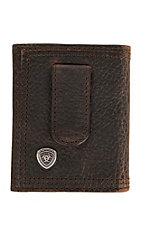 Ariat® Performance Work Dark Brown Front Pocket Money Clip Bi-Fold Wallet