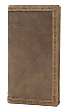 Ariat® Medium Brown with Buckstitch Edge Leather Checkbook / Rodeo Wallet